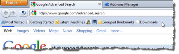 Bookmarks Toolbar with Roomy Bookmarks Toolbar add-on active