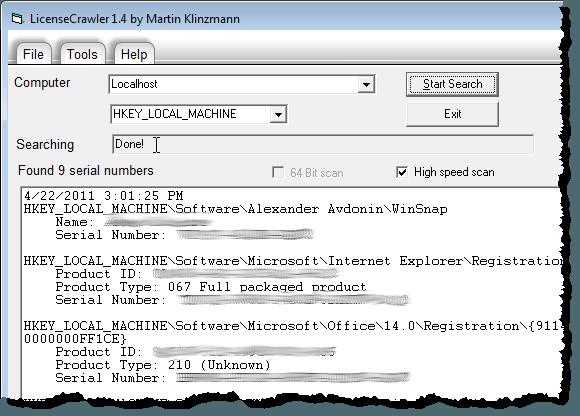 License Key list generated