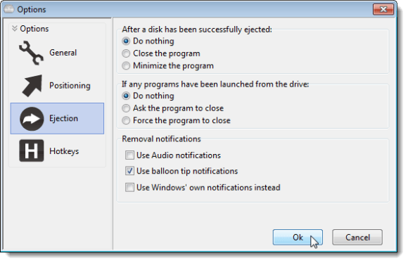 Options dialog box - Ejection screen