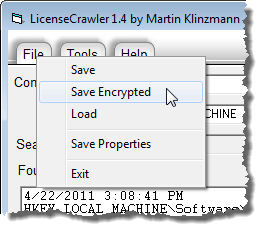 Selecting Save Encrypted from File menu