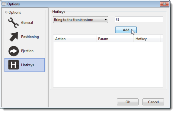 Clicking Add on the Hotkeys Options screen