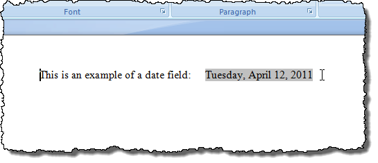 Example of field shading in Word 2007