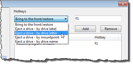 Selecting Eject a drive - by drive letter