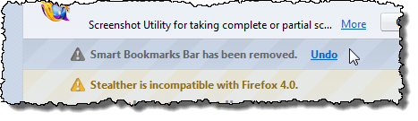 Smart Bookmarks Bar has been removed message