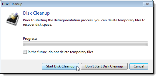 Clicking Start Disk Cleanup button on Disk Cleanup dialog box