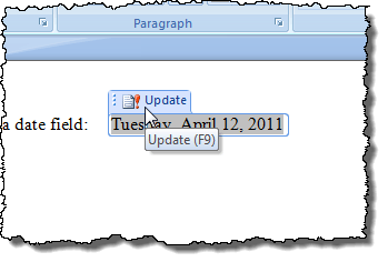 Updating a field in Word 2007