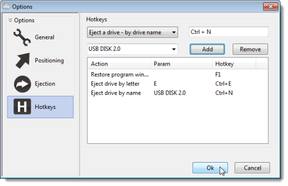 Eject drive by name hotkey added
