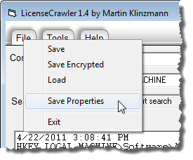 Selecting Save Properties from File menu
