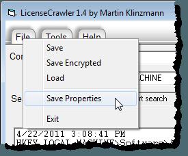 Selecting Save Properties from File menu