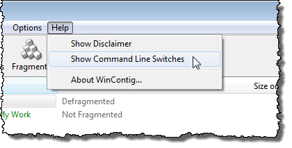 Selecting Show Command Line Switches option