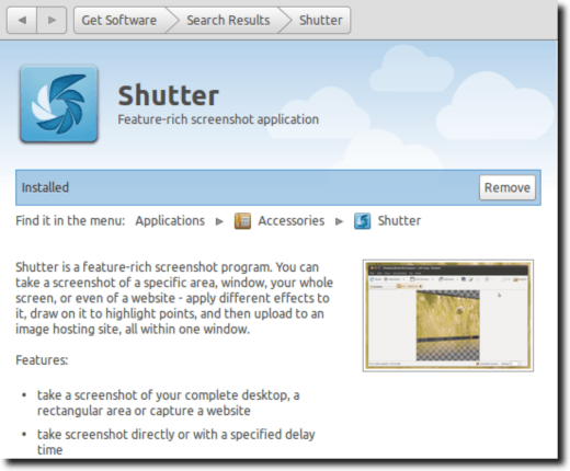 Shutter In Software Center