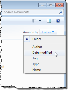 Arranging files by Date modified