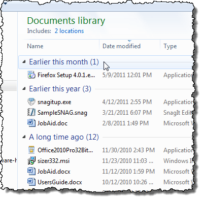 Files arranged by Date modified