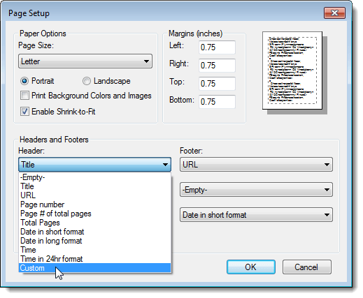 Change or Remove Headers and Footers When Printing in