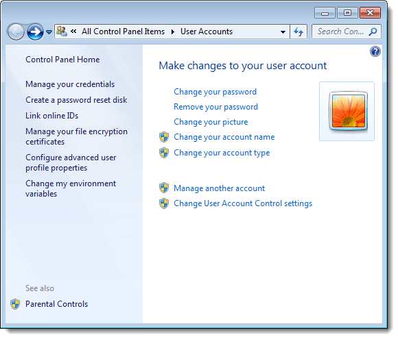 User Accounts window in Control Panel