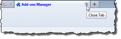 Closing the Add-ons Manager tab