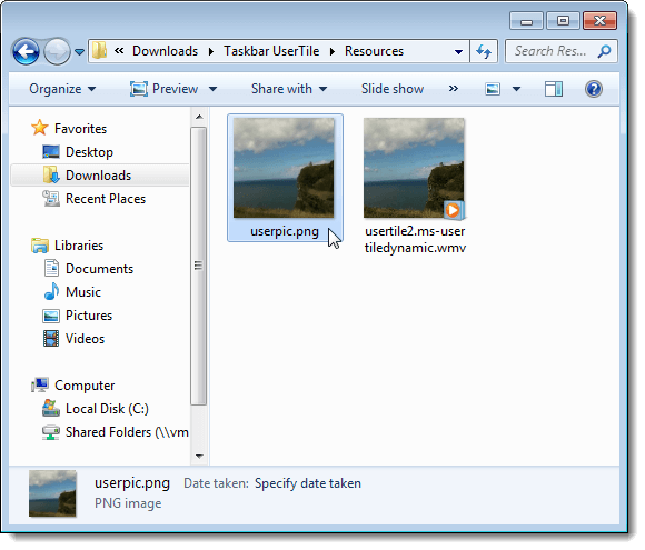 The Resources folder created by Taskbar UserTile