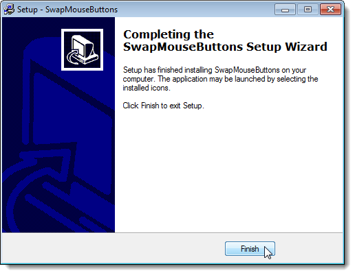 Completing the SwapMouseButtons Setup Wizard