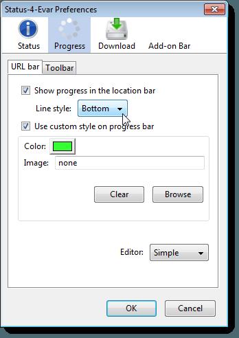 Progress screen on the Status-4-Evar Preferences dialog box