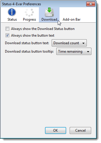 Download screen on the Status-4-Evar Preferences dialog box