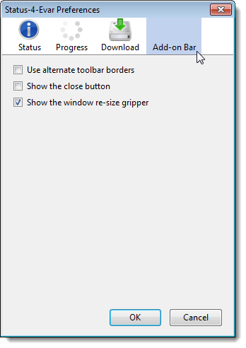 Add-on Bar screen on the Status-4-Evar Preferences dialog box