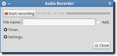 Audio Recorder Main Window
