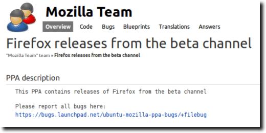 Firefox Beta PPA