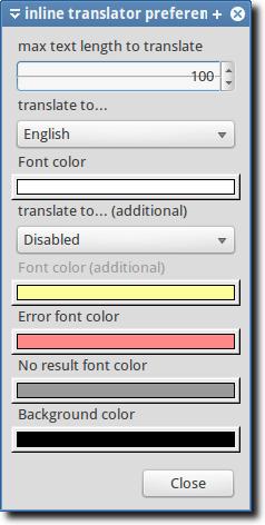 Inline Translator Preferences