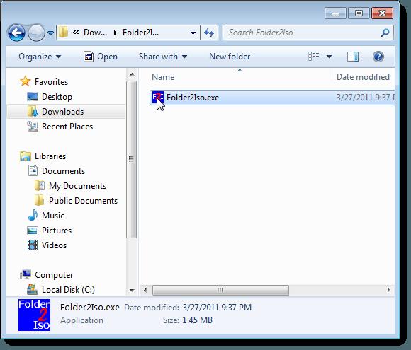 Running Folder2ISO
