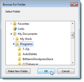 Browsing for a folder