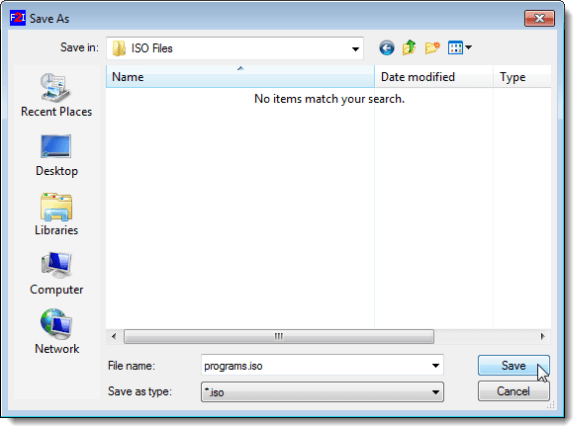 Selecting an output folder and naming the ISO file