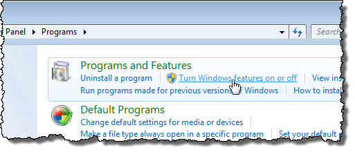 Clicking Turn Windows features on or off link in Windows 7