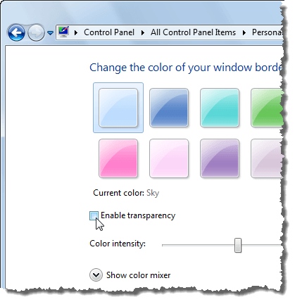 Disabling transparency in Windows 7