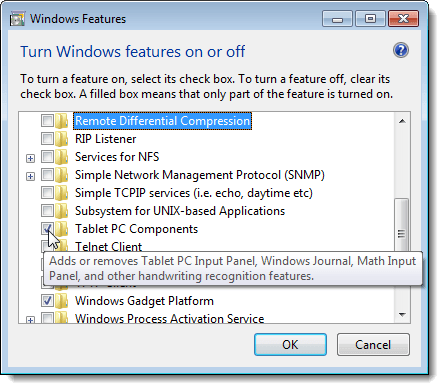 Viewing a description of a feature in Windows 7