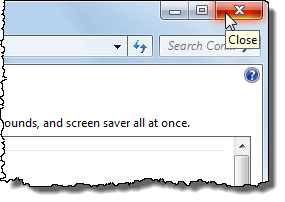 Closing Personalization window in Windows 7