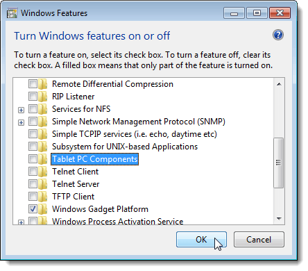 Closing the Windows Features dialog box