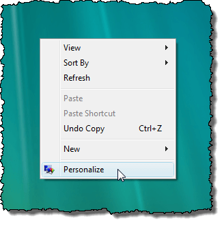Selecting Personalize in Vista