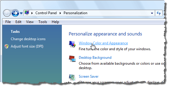Clicking Window Color and Appearance in Vista