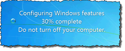 Configuring Windows features message