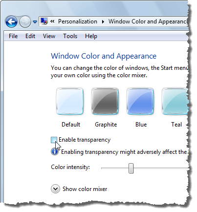 Disabling transparency in Vista