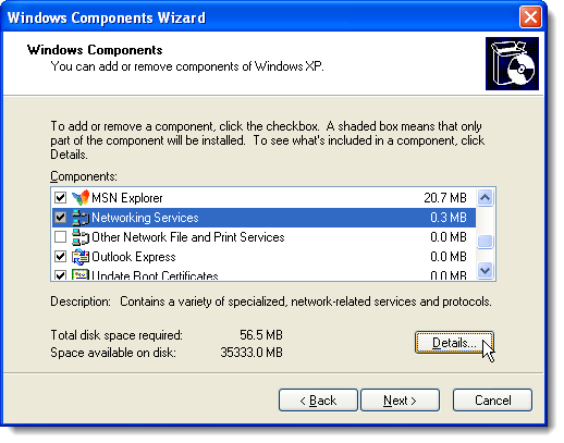 Clicking Details on the Windows Components Wizard