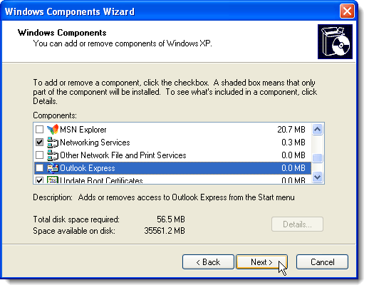 Clicking Next on Windows Components screen