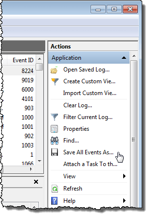 Selecting Save All Event As from Actions list