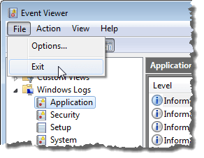 Closing the Event Viewer