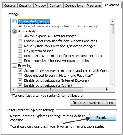reset ie settings