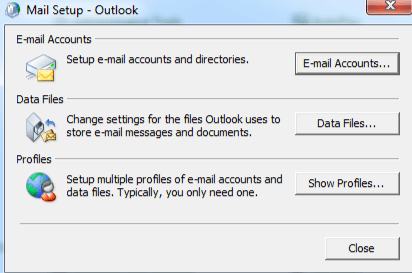 delete outlook profile