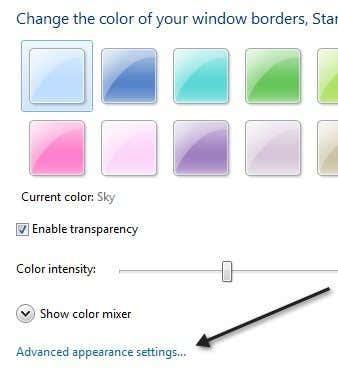 appearance settings