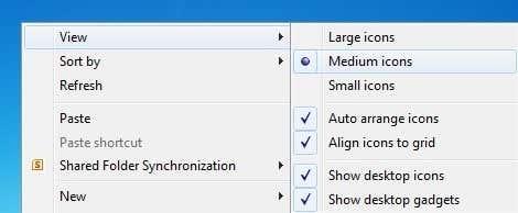 Change Desktop Icon Size in Windows 7