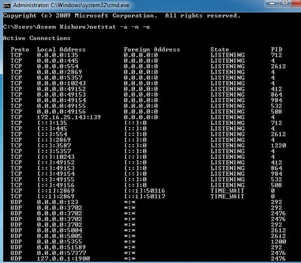 Use Netstat to See Listening Ports and PID in Windows