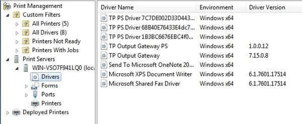 remove printer software windows 7